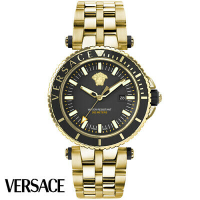 Versace VEAK00618 V-Race Diver black gold Stainless Steel Men's Watch NEW