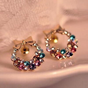 Women-Lady-Girls-Colorful-Crystal-Rhinestone-Gold-Bowknot-Ear-Stud-Earrings