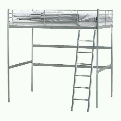 ikea tromso high sleeper double loft bed in white with. Black Bedroom Furniture Sets. Home Design Ideas