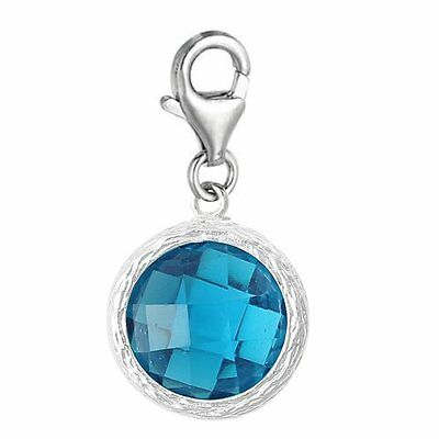 Clip on December Turquoise Cubic Zirconia Birthstone Charm Charms & Charm Bracelets