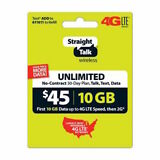 Straight Talk Rob Refill Card 30 Day $45 Prepaid Unlimited Service Plan Phone