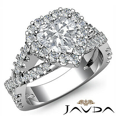 Cross Shank Halo Heart Cut Diamond Engagement Shared Prong Ring GIA I SI1 1.9Ct