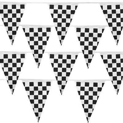 Black And White Party Decorations (100' Pennant Banner, 48 Black & White Racing Weatherproof Flags Party)