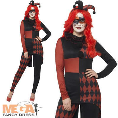 Twisted Harlequin Costume Circus Clown Jester Adults Halloween Costume Outfit