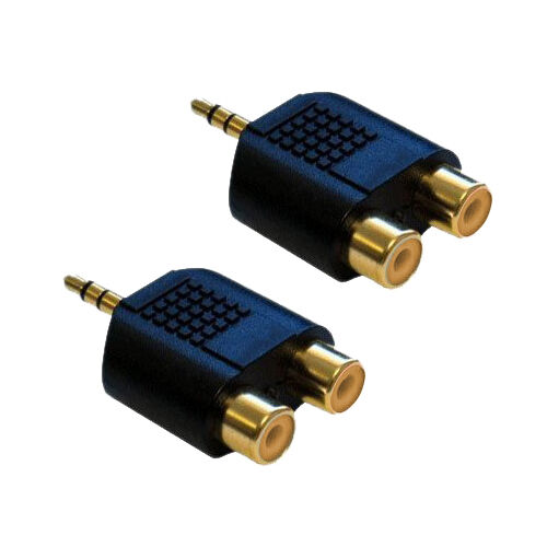 3.5mm Jack Male to Twin 2x RCA Phono Female Sockets Audio Adapter [2 Pack]
