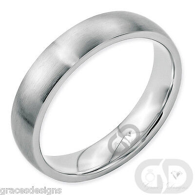 Stainless Steel 5mm Wedding Band Half Round Comfort-Fit Brushed Ring Size 5 - 13