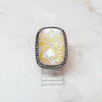 QVC White Mother of Pearl Gold Leaf Citrine Sterling Silver Ring Size 7 $162 ()