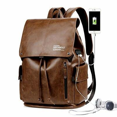 Men's Laptop Backpack Leather College Bookbag Travel Extra C