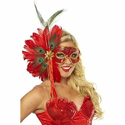 Mardi Gras Maske Rot Glitter Lame' Augen mit / Paillette Perlen Bänder & Federn