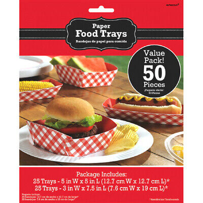 SUMMER PICNIC PARTY PAPER FOOD TRAYS (50) ~ Birthday Supplies Burgers Cookout - Picnic Party Supplies