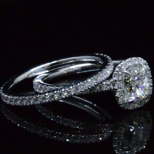 Fine 2.90 Ct Cushion Cut Diamond Halo Round Cut Engagement Ring Set H,VS2 GIA