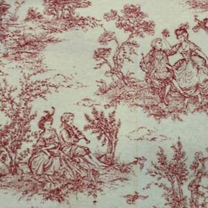French toile de jouy fabric pink red shade 100 cotton for Toile shabby chic