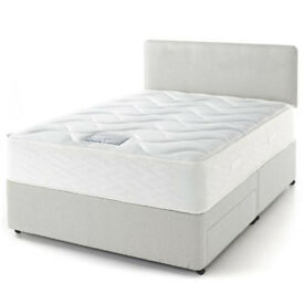 Suede Orthopaedic Divan Bed Mattress and Headboard. Colour and Size Options Available