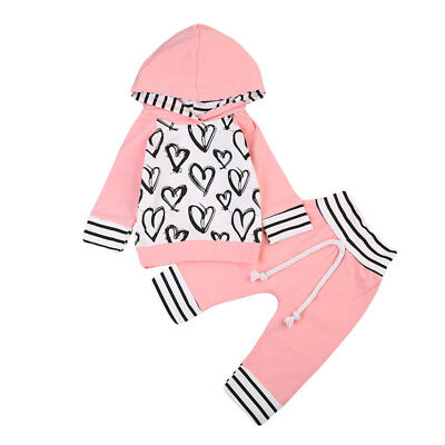 US Toddler Kid Baby Girl Clothes Hooded T-shirt Tops +Long Pants Outfit Set 0-3T