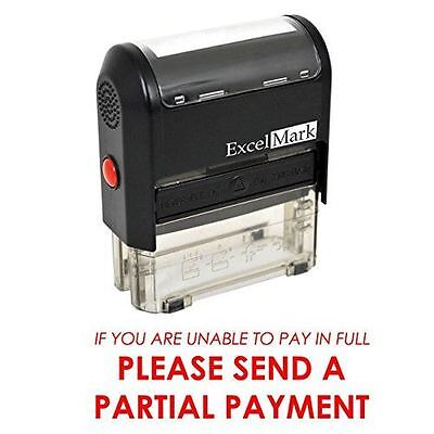 New Excelmark Please Send Partial Payment Self Inking Stamp A1848 Red Ink
