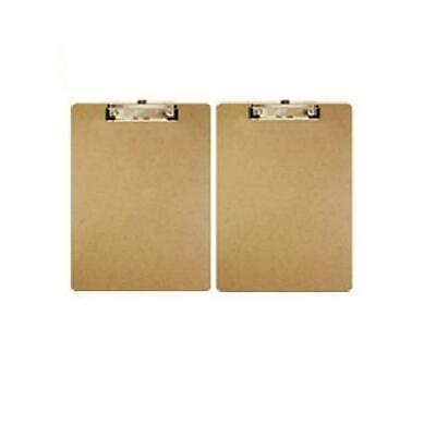 Bazic Standard Size Hardboard Clipboard With Low Profile Clip Wood 2 Pack