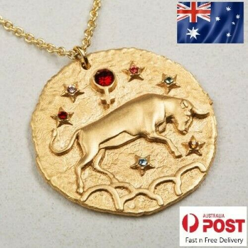Jewellery - 12 Constellation Zodiac Pendant Necklace Women Gold Crystal Coin Gifts Jewellery