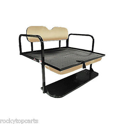 GTW Steel Club Car DS (00.5-Up) Golf Cart Rear Flip Seat Kit (Buff) - Mach1