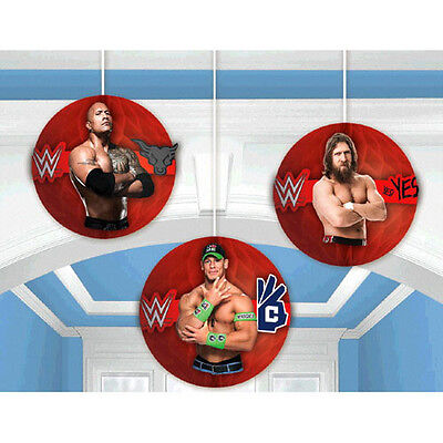 WWE WRESTLING BASH HONEYCOMB DECORATIONS (3) ~ Birthday Party Supplies John Cena - Wwe Party Decorations