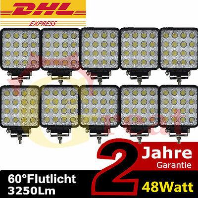 10 x 48W Led Arbeitsscheinwerfer Offroad Scheinwerfer 12V 24V Traktor LKW Bagger