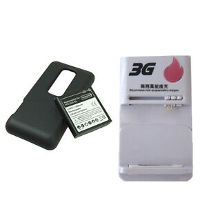3500MAH Extended Battery + Cover +charger CASE for Sprint HTC EVO 3D SPRINT
