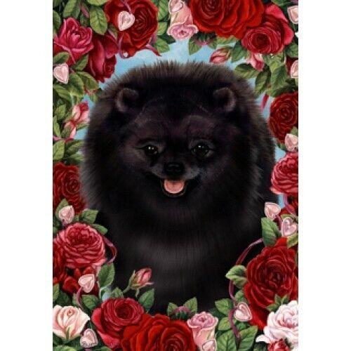 Roses House Flag - Black Pomeranian 19255