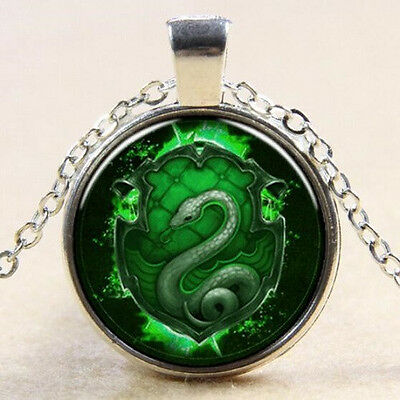 Slytherin Wappen Glas Cabochon Schlange+Kette 45cm+Schmuckbeutel Harry Potter