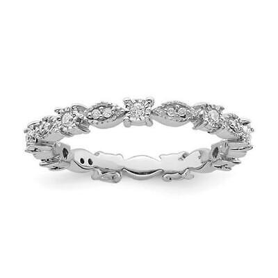 Platinum Pave Set Diamond Band - Platinum Sterling Silver & Diamonds Pave Set Eternity Stackable Band Ring Size 7