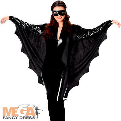 Vampire Bat Ladies Fancy Dress Halloween Spooky Animal Womens Adults Costume New (Bat Lady Halloween Costume)