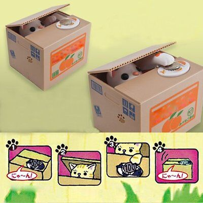 Automated Money Stealing Cat Coins Piggy Bank Money Saving Box-White Kitty US