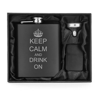 Matte Black 7oz Stainless Steel Hip Flask + Lighter + Funnel  Keep Calm Drink on Matte Stainless Steel Flask