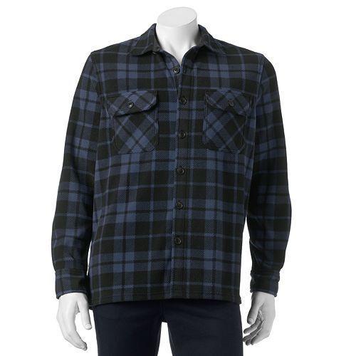 croft barrow blue black plaid arctic fleece shirt jacket mens size 3xb