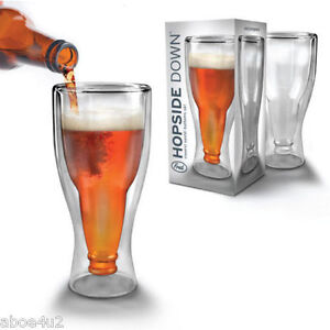 HOPSIDE UPSIDE DOWN BEER BOTTLE GLASS BY FRED AND FRIENDS - NOVELTY BEER GLASS