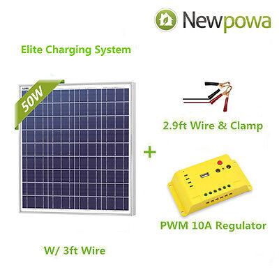 Newpowa 50 Watt 50W 12V Solar Panel + Charge Controller Regulator RV Marine Kit