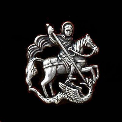 Medieval Crusades Holy Land Saint George Dragon Devil Satan Church Christian Pin