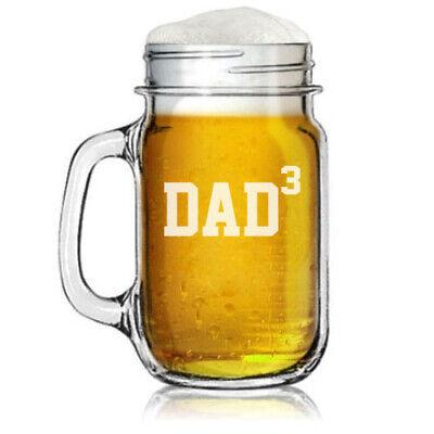 Dad Glass Cube - 16oz Mason Jar Glass Mug w/ Handle DAD x3 Cubed Father of 3