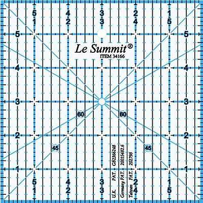 Le Summit 6 Inch X 6 Inch Patchwork Quilting Ruler Clear