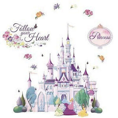 Disney princess castle wall stickers mural glitter 23 for Disney princess wall mural stickers