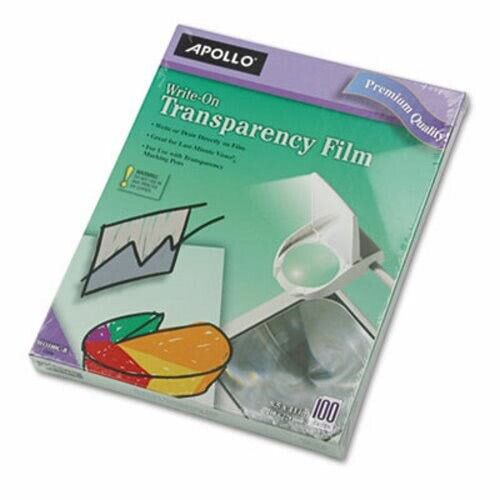 Apollo Write-On Transparency Film, Letter, Clear, 100/Box (APOWO100CB)