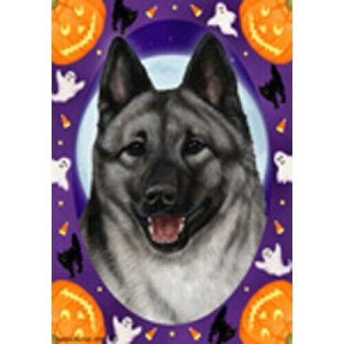 Halloween Garden Flag - Norwegian Elkhound 124031