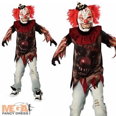 Circus Sideshow Halloween Costumes (Psycho Sideshow Clown Boys Fancy Dress Halloween Horror Circus Kids Costume)