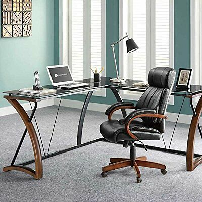 L Shaped Corner Computer Desk Table Woodglassmetal Modern Workstation Office