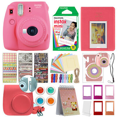 Fujifilm Instax Mini 9 Instant Film Camera Flamingo Pink + 10 Film Deluxe Bundle