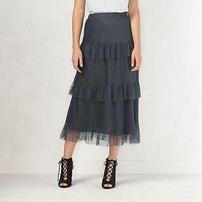 Lauren Conrad Nine Iron Formal Decadence Layered Tulle Tiered Skirt Sz M (Tiered Iron)