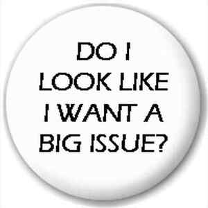 LAPEL-PIN-BUTTON-BADGE-Do-I-Look-Like-I-Want-A-Big-Issue