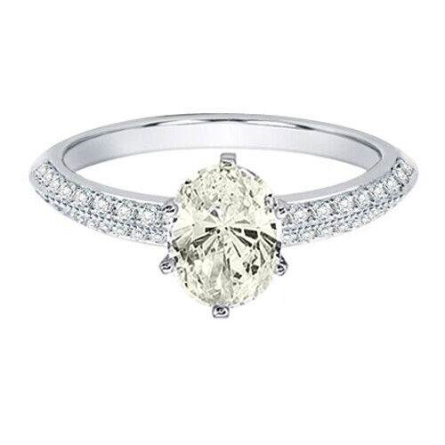 GIA Certified Diamond Engagement Ring 1.54 carat total Oval & Round Cut 14k Gold