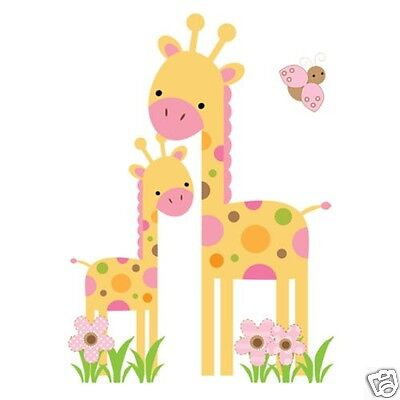 Mod Safari Giraffe Wall Art Mural Decal Baby Girl Jungle Animal Nursery Stickers