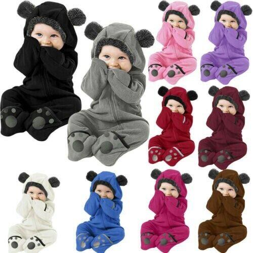 Infant Baby Kid Girl Boy Solid Cartoon Ear Hoodie Romper Clo