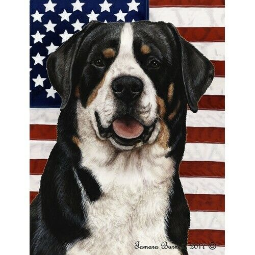 Patriotic (D2) House Flag - Greater Swiss Mountain Dog 32144