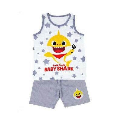 Pinkfong baby shark grey sleeveless pajama set for 2 years old (standard) (Batman Pajamas For Babies)